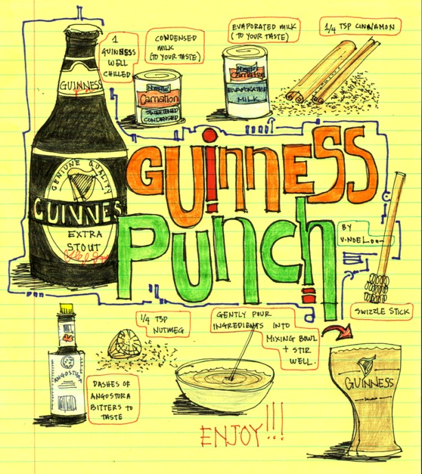 visual recipe, guiness punch, vernelle noel, thinking insomniac, sketchblog