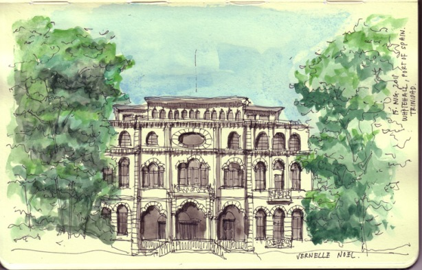 whitehall, port of spain, trinidad, drawing, sketch, thinking insomniac, vernelle noel, art, watercolor, architecture, magnificent seven, trinidad